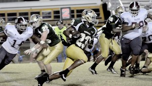 WORKING THE FIELD: Poplarville's Malik Lucas scored three of the four touch downs the team earned Friday night. Photo by Jeremy Pittari