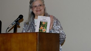 "Pearl River County author Mary Beth Magee reviewed her book ""Death in the Daylilies"" at the Margaret Reed Crosby Memorial Library's Brown Bag Book Review program on Tuesday.  Photo by Cassandra Favre"