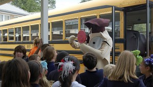 Photo by Cassandra Favre Pearl River Central Upper Elementary Assistant Principal Val White donned the Hooty the Owl costume for Wednesday's SOAR program. The owl is the mascot of the bus safety program. Elementary students learned how to be safe on and around a school bus.