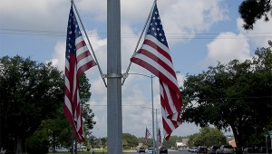 Photo by Cassandra Favre There are a number of American flags lining Goodyear Boulevard in Picayune. According to Daughters of the American Revolution member, Margaret Anne Ulerich, the flags will fly all week to commemorate Constitution Week which lasts from September 17-23.