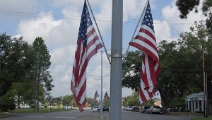 Photo by Cassandra Favre In remembrance: There are numerous American flags lining the Goodyear Boulevard. Mayor Ed Pinero said flags located around the city will be flown at half-staff in remembrance of September 11, 2001.