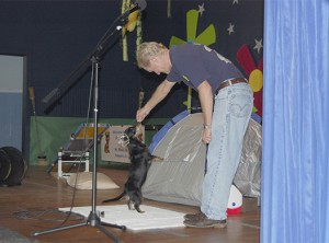 Photo by Cassandra Favre Children's author David M. Sargent, Jr. and his dog Daphne, delighted the students at Pearl River Central Upper Elementary on Monday. The event was held in conjunction with the kickoff of the school's Accelerated Reader program.
