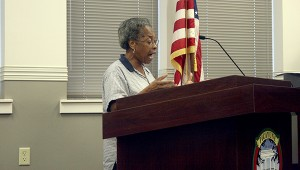VOICING CONCERNS: Picayune resident Naomi Smith shared her observations of suspected gambling going on at the park across the street from her home. Photo by Jeremy Pittari