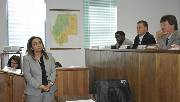 UPDATING THE BOARD: Greater Picayune Area Chamber of Commerce Executive Director Nuria Arias speaks to the Pearl River County Board of Supervisors about promoting growth in the county.  Photo by Cassandra Favre